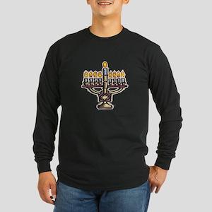 Lit Menorah Long Sleeve Dark T-Shirt