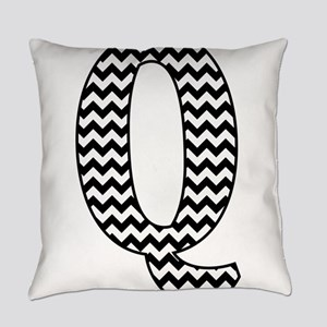 Black and White Chevron Letter Q M Everyday Pillow