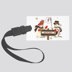 Let it snow snowman Large Luggage Tag