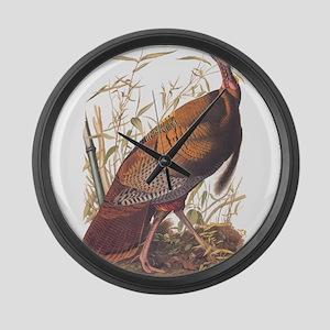 Audubon Wild Turkey Vintage Art Large Wall Clock