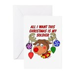 Christmas I want my Soldier Greeting Cards (Pk of