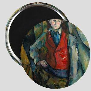 Boy in a Red Waistcoat by Paul Cézanne Magnets