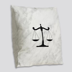Scales of Justice Burlap Throw Pillow