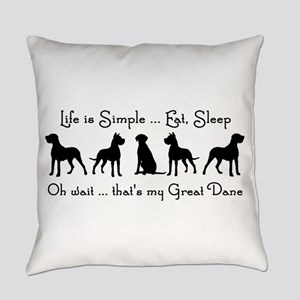 Life is Simple For Great Dane Dog Everyday Pillow