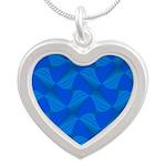 Blue Fractals Silver Heart Necklace