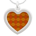 Artwork Orange Fractal Silver Heart Necklace