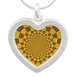 Red & Gold Dance Fractal Silver Heart Necklace