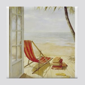 Relaxing on the Beach Tile Coaster