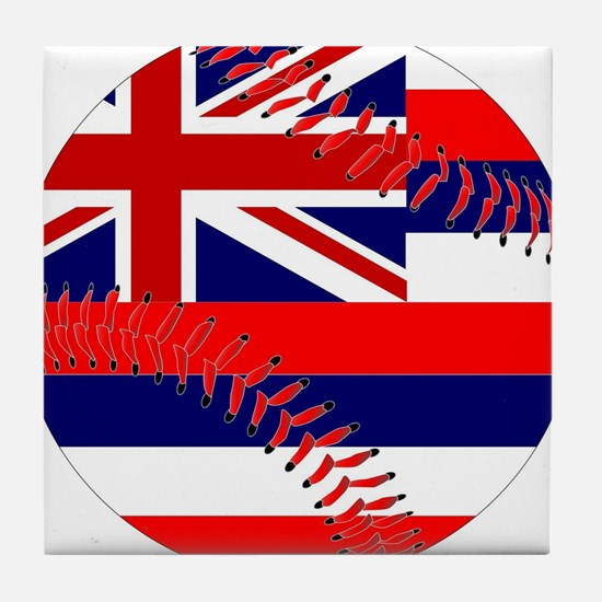 Hawaii Flag Baseball Tile Coaster