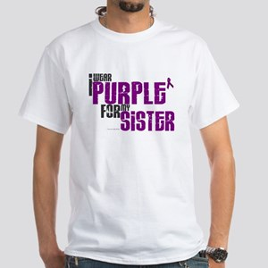 I Wear Purple For My Sister 6 (PC) White T-Shirt