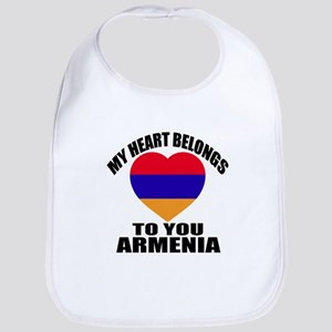 My Heart Belongs To You Armenia Co Cotton Baby Bib