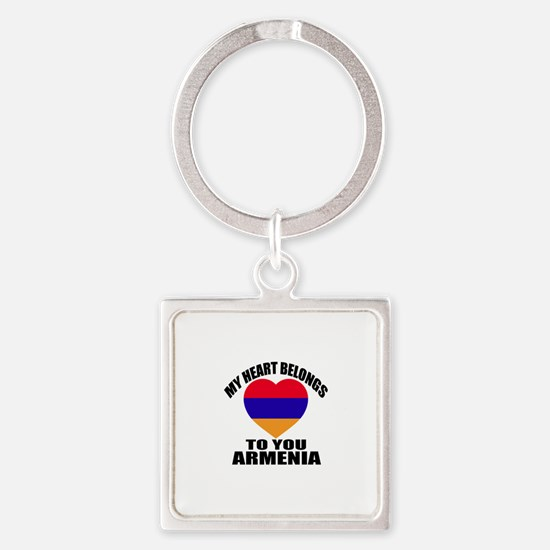 My Heart Belongs To You Armenia Co Square Keychain