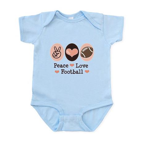 Pink Brown Peace Love Football Infant Bodysuit