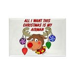 Christmas I want my Airman Rectangle Magnet (100