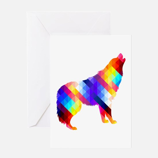 Geometric Howling Wolf Greeting Card