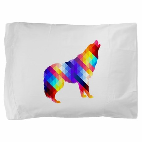 Geometric Howling Wolf Pillow Sham by 1111now