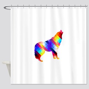 Geometric Howling Wolf Shower Curtain