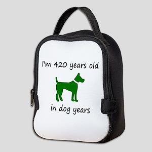 60 Dog Years Green Dog 1C Neoprene Lunch Bag