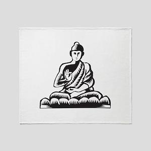 Buddha Lotus Pose Woodcut Throw Blanket