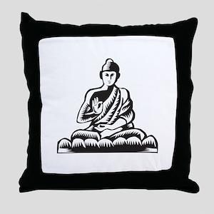 Buddha Lotus Pose Woodcut Throw Pillow