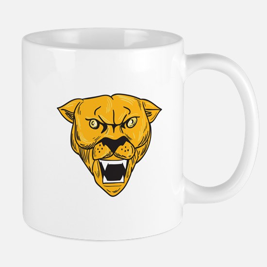 Angry Cougar Mountain Lion Head Drawing Mugs