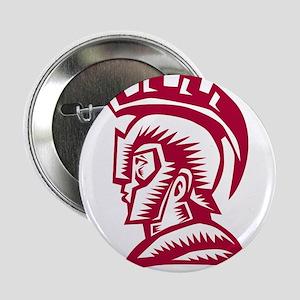 "Spartan Warrior Helmet Woodcut 2.25"" Button (10 pa"