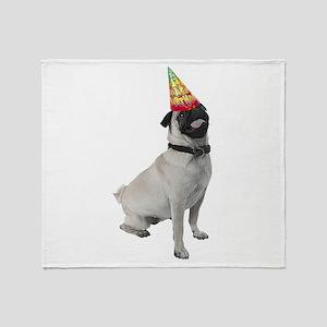 Pug Birthday Throw Blanket