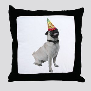 Pug Birthday Throw Pillow