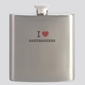 I Love SANDBAGGERS Flask