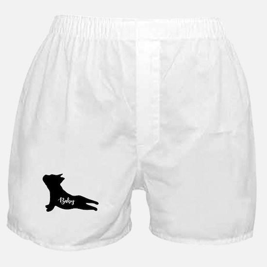 Bulldog Puppy Silhouette doing Yoga. Boxer Shorts