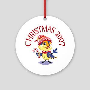 Christmas Bird 2007 Ornament (Round)