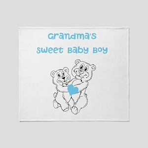 Bears Grandmas Sweet Baby Boy Throw Blanket