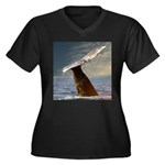 WILD SIDE WHALE Women's Plus Size V-Neck Dark T-Sh