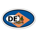 Delaware State Flag Oval Sticker