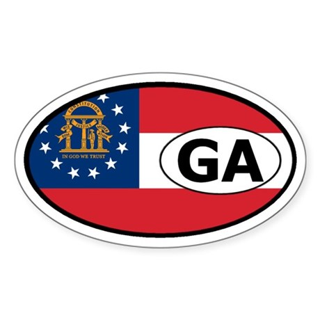 Georgia State Flag Oval Sticker