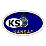 Kansas State Flag Oval Sticker