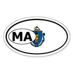 Massachusetts State Flag Oval Sticker