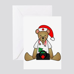 Christmas Nurse Bear Greeting Card