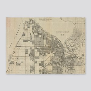 Vintage Map of Tacoma Washington (1 5'x7'Area Rug