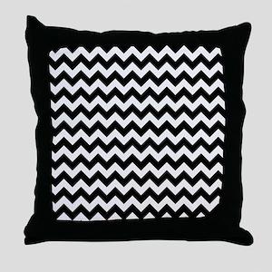 Black and White Chevron Pattern Throw Pillow