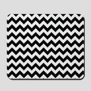 Black and White Chevron Pattern Mousepad
