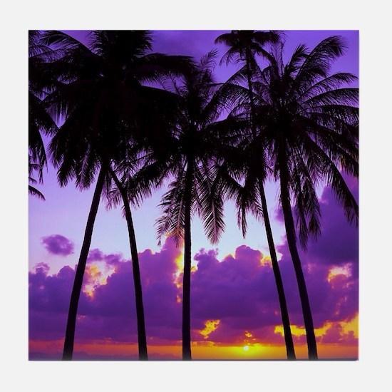 Purple Tropical Sunset 3 Tile Coaster