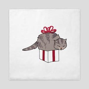Cat In Present Queen Duvet
