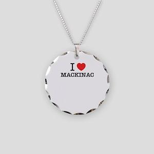 I Love MACKINAC Necklace Circle Charm