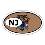 New Jersey State Flag Oval Sticker