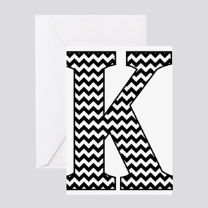 Black and White Chevron Letter K Mo Greeting Cards