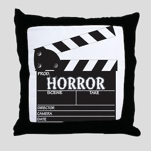 Clapper Board Horror Throw Pillow