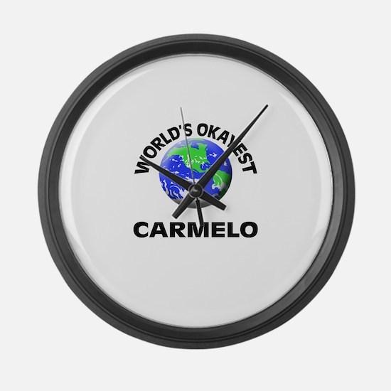 World's Okayest Carmelo Large Wall Clock