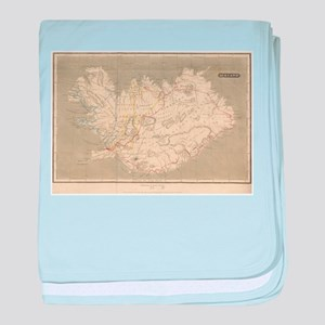 Vintage Map of Iceland (1819) baby blanket
