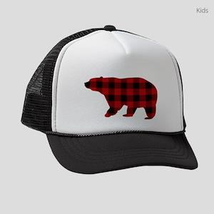 lumberjack buffalo plaid Bear Kids Trucker hat